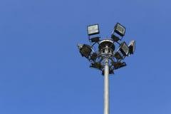 Light pole. Spotlights the high voltage for the stadium Stock Photo