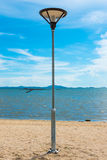 Light pole on beach Royalty Free Stock Image