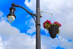 Light Pole. Large steel decorative light pole in Malone, New York Royalty Free Stock Images