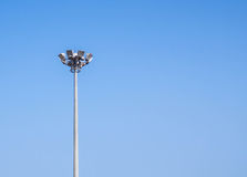 Light pole tower with clear blue sky. Stock Photography