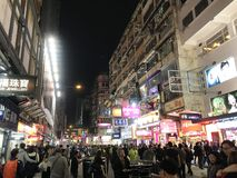 Light Pollution by Billboards in Mongkok, Hong Kong. This photo was taken at Sai Yeung Choi Street, Mongkok, Hong Kong at night. This street is famous for royalty free stock photography