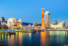 The light from the Port of Kobe in the twilight. Stock Image