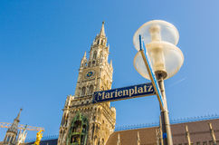 Light post with Neus Rathaus Stock Photo
