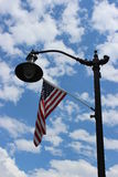 Light post and US Flag Royalty Free Stock Photos
