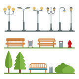 Light posts and outdoor elements for construction of landscapes. Royalty Free Stock Photo