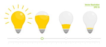 Free Light Power Indicator. Power Switch. Energy Charge Level, Full And Low. Yellow Glowing Light Bulb. Vector Illustration Royalty Free Stock Photography - 116085187