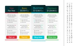 Light pricing table with dark header and one recom Royalty Free Stock Images