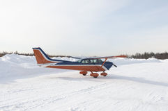 Light private aircraft on taxi track Royalty Free Stock Image