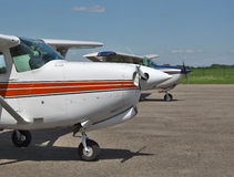 Light private planes. Parked on the airfield Royalty Free Stock Image