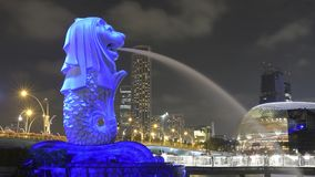 Light projection art on the Singapore Merlion statue Royalty Free Stock Image