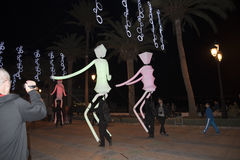 Light Puppets and Christmas decorations in the town of Nerja Spain Stock Photography