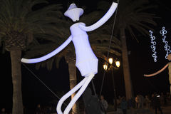 Light Puppets and Christmas decorations in the town of Nerja Spain Royalty Free Stock Images