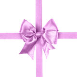 Light purple bow made from silk ribbon Royalty Free Stock Images