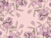 Light Purple Floral Patterns. An abstract texture design with pink and purple flowers and vines overlapping in a swirling pattern on a pale pink background Stock Photo