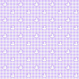 Purple Gingham Fabric with ducks Background Stock Image