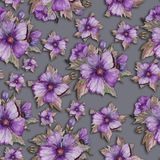 Light purple malva flowers with green and brown leaves on grey background. Seamless floral pattern. Watercolor painting. Hand drawn illustration. Can be used Stock Photos