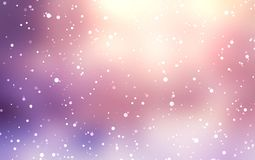 Light purple snow blur the background. Snow in the golden rays. Stock Image