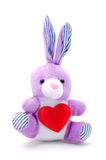 Light purple toy bunny rabbit sitting with heart. Valentine's Day Royalty Free Stock Images