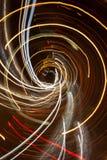 Light röra sig i spiral i natten Arkivbilder