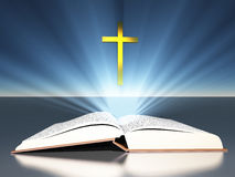 Light radiates from bible cross. Light radiates from bible under cross Royalty Free Stock Image