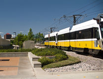Light Rail. A light rail commuter train or tramway headed for the depot Stock Images