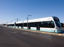 Light Rail. A light rail commuter train stock photo