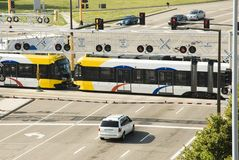 Light Rail 9. A light rail mass transit train crossing an intersection in Bloomington, MN Royalty Free Stock Image