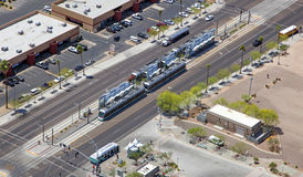 Light Rail Aerial in Mesa. Light Rail from above in Mesa, Arizona Royalty Free Stock Photos