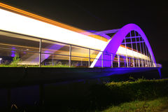 A light rail bridge near Stuttgart. An illuminated bridge used by light rail trains in Ostfildern, near Stuttgart (Germany stock images
