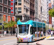 Light Rail in Detroit. Q Line opens in Detroit royalty free stock photography