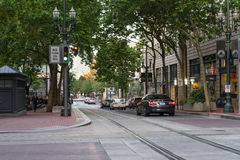 Light rail friendly city Portland Oregon. Downtown Portland Oregon incorporating light rail transportation Royalty Free Stock Images