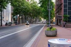 Light rail friendly city Portland Oregon. Downtown Portland Oregon incorporating light rail transportation Stock Photography