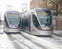 Light rail jammed in the snow Stock Image