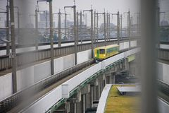 Light rail in  Japan. Royalty Free Stock Photo