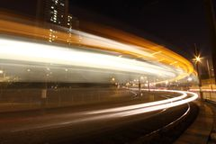 Light rail in moving motion in Hong Kong. It is one kind of transportation in Hong Kong downtown Stock Image