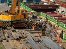 Light Rail Project Construction in Kaohsiung Stock Image