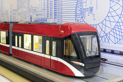 Light rail. The red model of light rail Royalty Free Stock Images