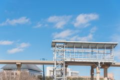 Light rail system station under construction in Las Colinas, Irv. Ing, Texas, USA. Elevated  Area Personal Transit APT automated peoplemover system platform blue Stock Images