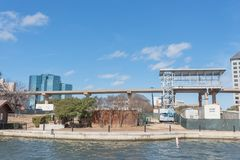 Light rail system station under construction in Las Colinas, Irving, Texas, USA. Riverside elevated Area Personal Transit APT automated peoplemover system royalty free stock photography