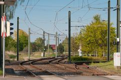 Light rail tracks in Rostock in germany Royalty Free Stock Image