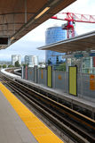 Light rail tracks & station in Richmond BC Stock Image