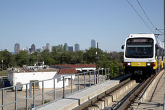Light rail train in city Dallas Royalty Free Stock Photos