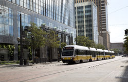 Light rail train on downtown Dallas Royalty Free Stock Images