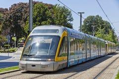 Light rail train of Metro do Porto, Portugal. PORTO, PORTUGAL - JUNE 17, 2013: Light rail train of Metro do Porto, part of the public transport system of Porto Stock Image