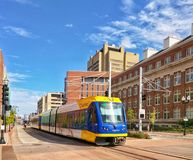 Light Rail train in Minneapolis Minnesota Royalty Free Stock Image