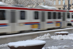 Light rail train in motion, Salt Lake City Royalty Free Stock Images