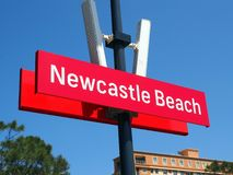 Newcastle Beach Light Rail Stop, Australia. Light rail or tram stop sign, Newcastle Beach, Newcastle City, Hunter Valley, NSW, Australia. Modern quiet clean stock images