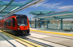 Light rail trolley. At trolley station in San Diego Stock Images