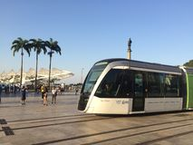 Light Rail Vehicles - Museum of Tomorrow - Rio de Janeiro Stock Image