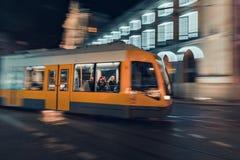 Light rail yellow tram royalty free stock image